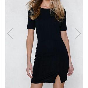 Nasty Gal Slit Down Bodycon Dress / Black